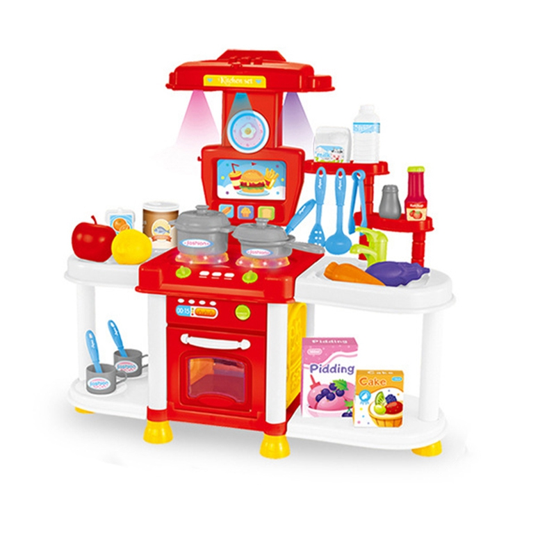 Children Play House Kitchen Toy Set Sound And Light Sound Effects Girl Cooking Table Pretend Play Cooking Tableware Set Gift