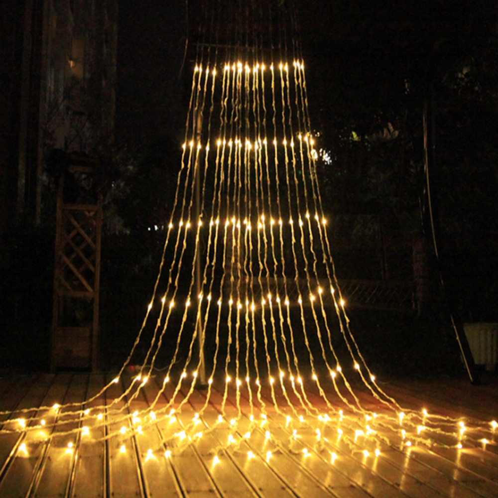 Outdoor LED Waterfall Meteor Shower Rain String Light 3*3M 320 Led Wedding Curtain Icicle Fairy Garland Waterproof Garden String