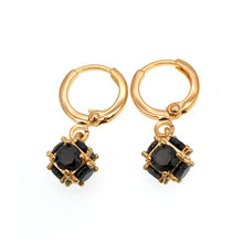 Black Crystal Gold Earings Dangle Earrings Women Iindian Jewelry Party Gifts Bijoux Femme Accesorios Mujer Brinco Kolczyki E2421(China)