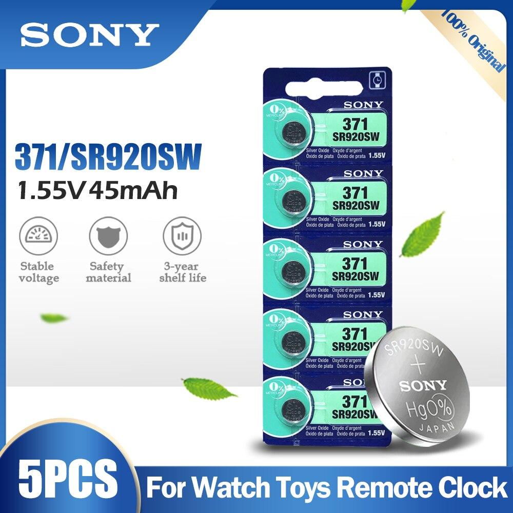 5 pçs original sony 371 sr920sw ag6 920 lr920 lr69 171 370a 371a 1.55v bateria de óxido de prata para o relógio calculadora botão pilha moeda
