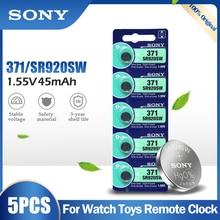 5 шт. оригинальный Sony 371 SR920SW AG6 920 LR920 LR69 171 370A 371A 1,55 V оксида серебра Батарея для часы с калькулятором Кнопка ячейки