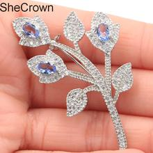56x33mm Fantastic Flowers Rich Blue Violet Tanzanite CZ SheCrown Woman's Silver Brooch