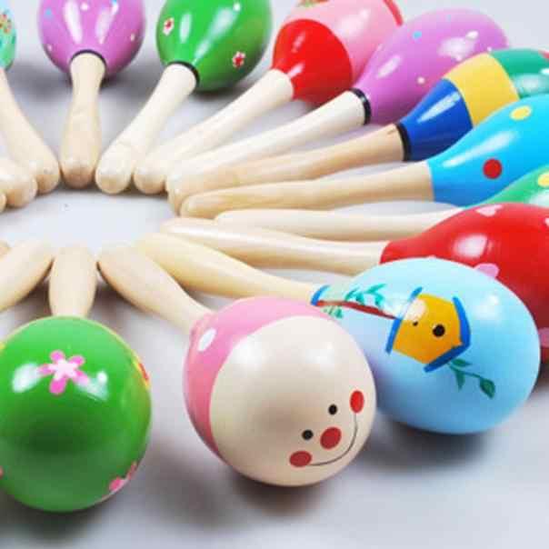 Mini ahşap top bebek çocuklar renkli kum çekiç çocuk perküsyon müzik aletleri oyuncaklar Boys ve kızlar için