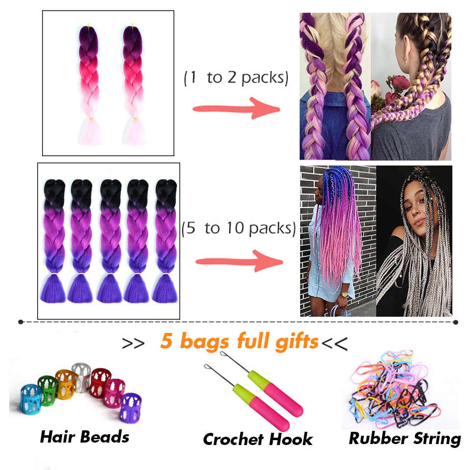 QIANJI длинные Омбре плетение волосы из канекалона Джамбо синтетические мешочки крючком желтый розовый фиолетовый серый ящик косы для наращивания волос