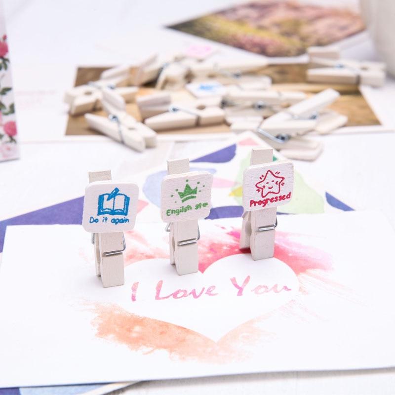 Creative Handmade Wood Cartoon Cute Small Wooden Clip 3.5 Cm Photo Wooden Clip Notepad Clip Message Clip