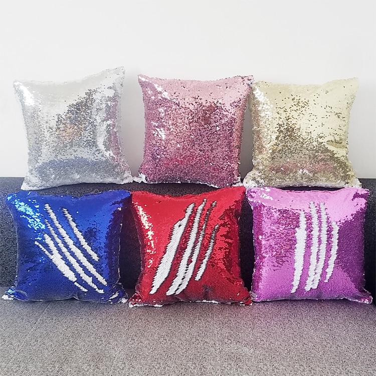 Livraison gratuite 6 pcs/lot nouveau style Sublimation blanc paillettes magiques article taie d'oreiller pour Sublimation encre impression bricolage cadeaux 40x40