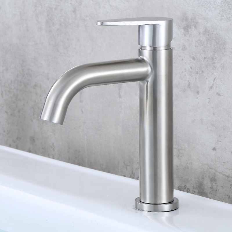 Aberforth South 304 Stainless Steel Brushed Ingle Handle Faucet With Cold Basin Bathroom Washbasin Inter-platform Basin Tap Cold
