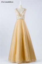 A line Long Prom Dresses 2020 Yellow Lace Appliques Pearls  V Neck Open Back Evening Gowns Formal Dress For Party Robe De Soiree suosikki evening dress long v neck floral formal dresses backless formal prom occasion dresses satin robe de soiree party gowns