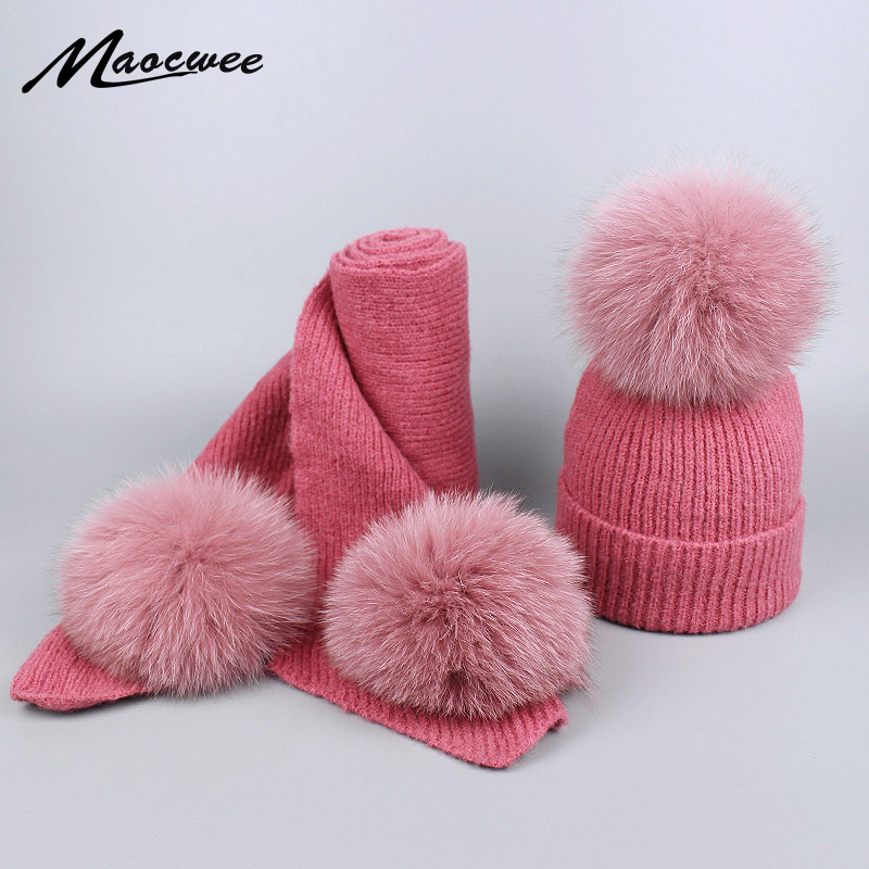 Fox Real Fur Ball Pom Poms Winter Wool Cotton Hats And Scarf Set For Women Girl 's Hat Knitted Beanies Thick Skullies Scarves