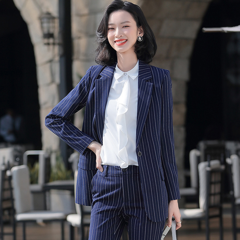 Blue Stripe Office Work Formal Long Pant Suit Women's Business Lady OL Uniform 2 Piece Set Blazer Trouser Jacket Suits Plus Size