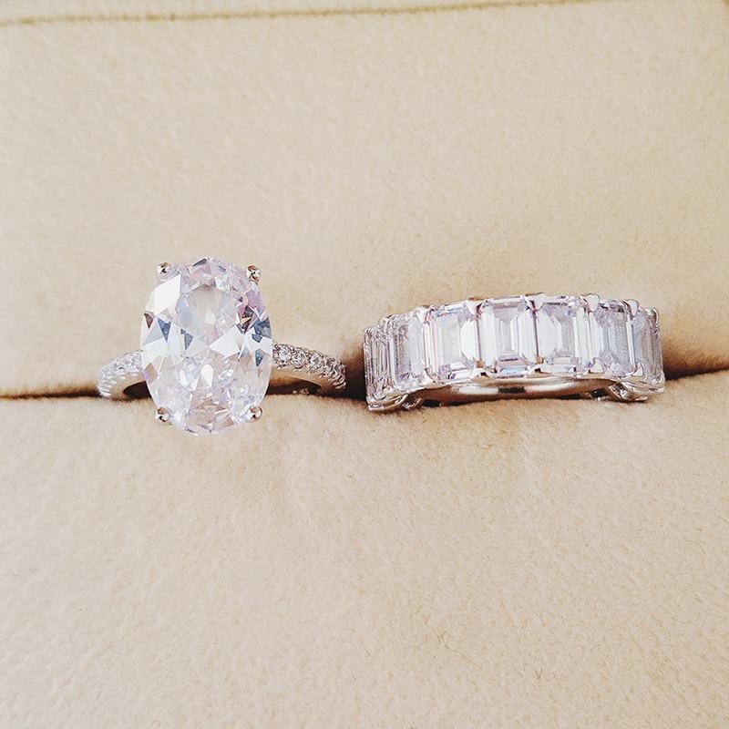 2020 nouveau luxe ovale original 925 en argent sterling bague de mariage ensemble pour femmes dame anniversaire cadeau bijoux livraison directe R5239S - 4