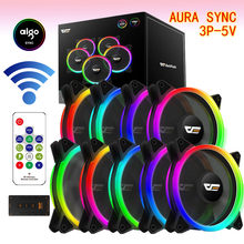Aigo Cooler DR12Pro radiator PC Fan RGB120mm Fan Adjust LED Speed Fan Quiet Remote AURA SYNC Cpu Cooler Cooling RGB Computer fan(China)
