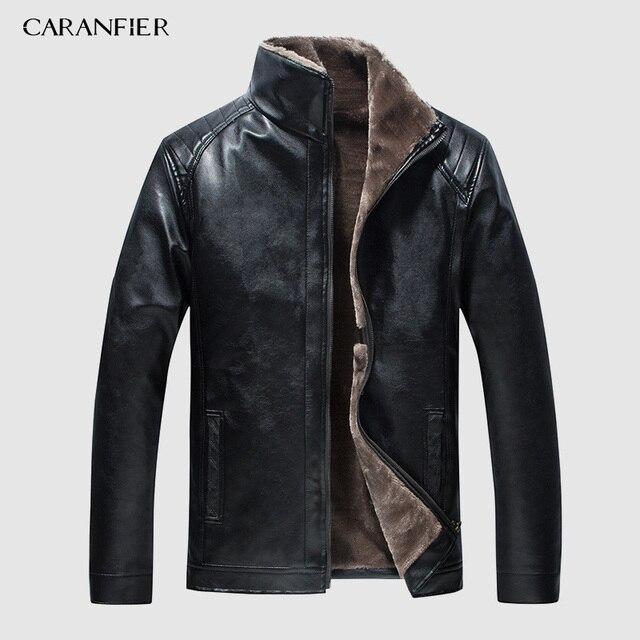 CARANFIER yeni kış motosiklet erkek deri ceket erkekler rüzgarlık PU ceketler erkek dış giyim sıcak PU beyzbol ceketleri boyutu 4XL
