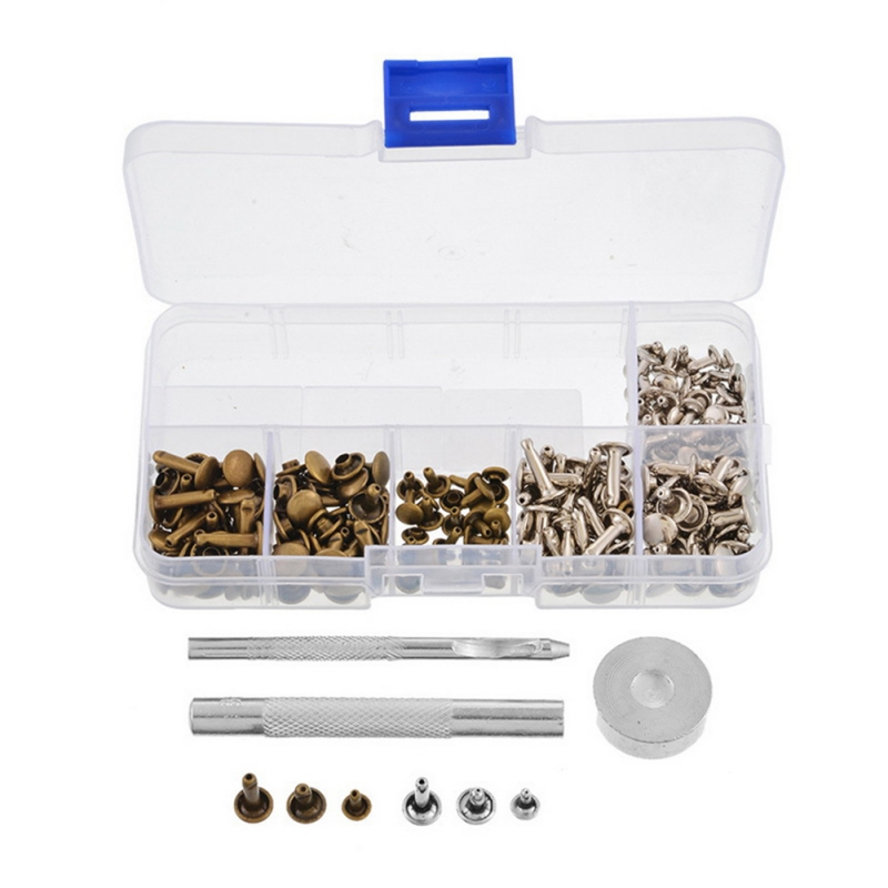 120pcs/set Double sided Leather Rivets Tubular Metal Studs with Fixing Tool Kit for Leather Craft with Installation Tools|Hand Tool Sets| |  - title=