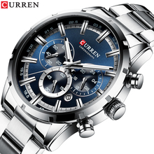 CURREN Sport Watch Men Luminous Display Silver Stainless Steel Quartz Chronograph Blue Dial Classy Wrist Hardlex