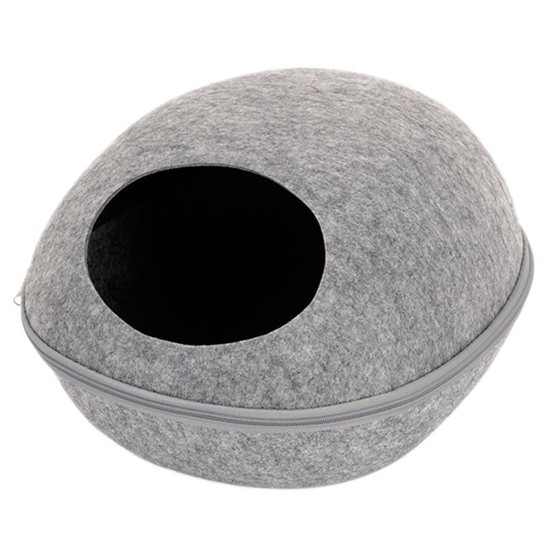 Chien chat lit grotte sac de couchage fermeture éclair oeuf forme feutre tissu animal maison nid chat panier produits pour chats animaux fournitures gris