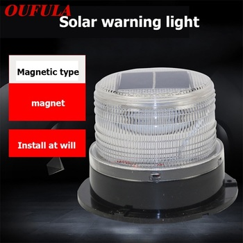OUFULA Solar Indicator Lights Red Blue Yellow Flashing Light Car Magnetic Adsorption Night Safety Warning adsorption