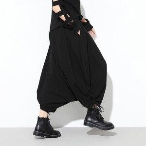 Image 3 - [EAM] 2020 ربيع الخريف موضة جديدة الأسود الصلبة جيوب مرونة الخصر عادية فضفاض كبير الحجم المرأة طويلة عبر السراويل RA231