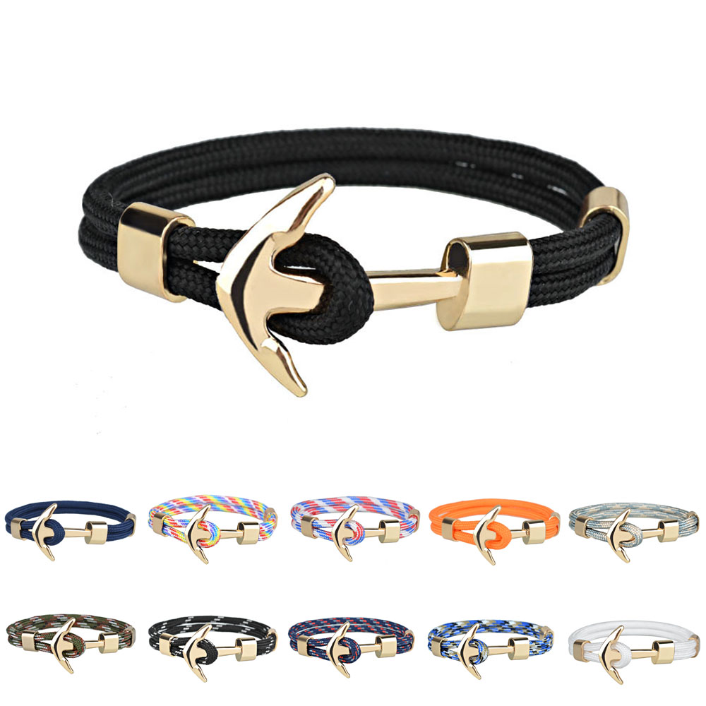 Kirykle Hot Sale Couple Bracelets Fashion Alloy Anchor Bracelets Bangles braided Polyester Rope Bracelets for Women Men Gifts