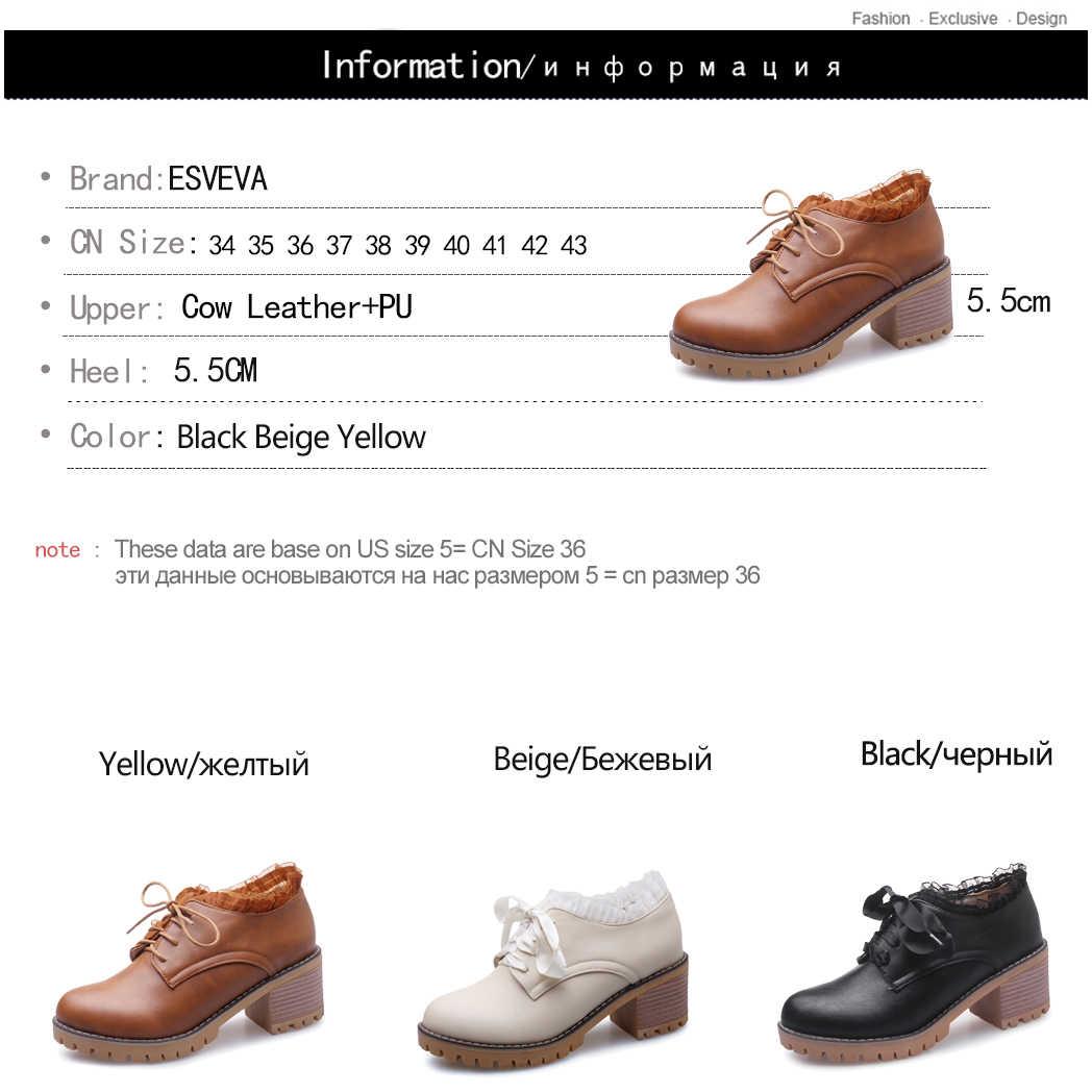 ESVEVA 2020 Kadın Ayakkabı Kış yarım çizmeler Siyah Kare Med Topuk Batı PU Deri Motosiklet Siyah Platform Çizme Boyutu 34- 43