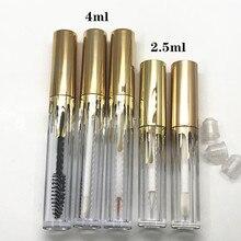 Tubes pour brillant à lèvres, 4ml, 10/30/50pcs/2.5, Tubes transparents pour Mascara avec capuchon en or, pour eye liner cosmétique, conteneurs rechargeables