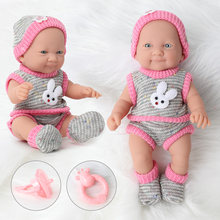 10inch reborn doll 25CM Realistic silicone bebe body waterproof simulation newborn Sweater Rattle set for toys children(China)