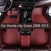 Lederen Auto Vloermatten Voor Honda City Grace 2008 2009 2010 2011 2012 2013 Custom Auto Voet Pads Auto Tapijt cover