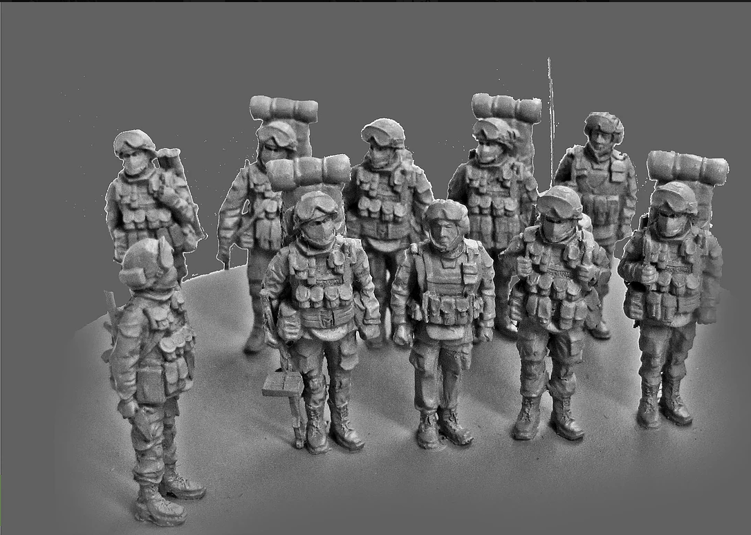 1/72 Scale Unpainted Resin Figure Echanized infantry(9 pcs) Model ...