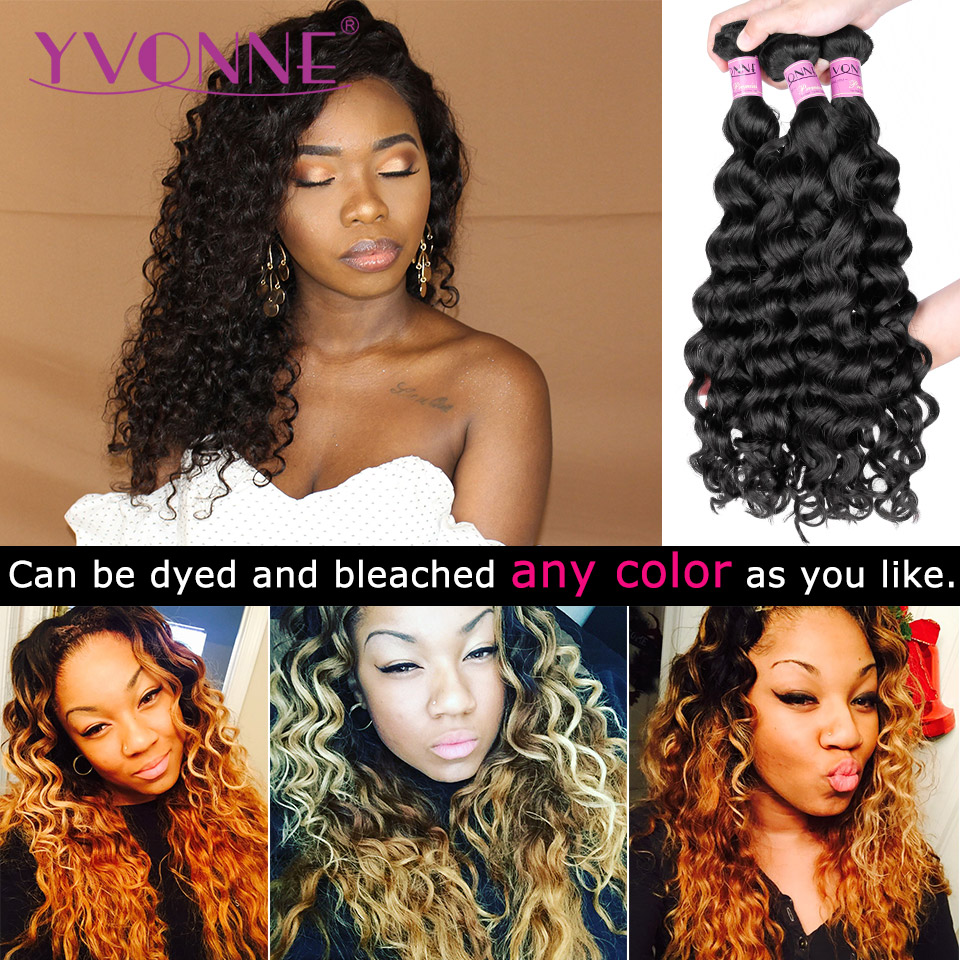 Yvonne Italian Curly Brazilian Virgin Hair 1/3/4 Bundles Human Hair Weave Natural Color