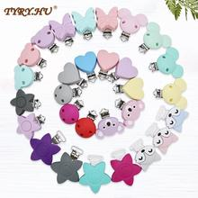 TYRY.HU 50 PCS Silicone Teether Clips Round Bear Star DIY Baby Pacifier Dummy Chain Holder Soother Nursing Jewelry Toy Clips