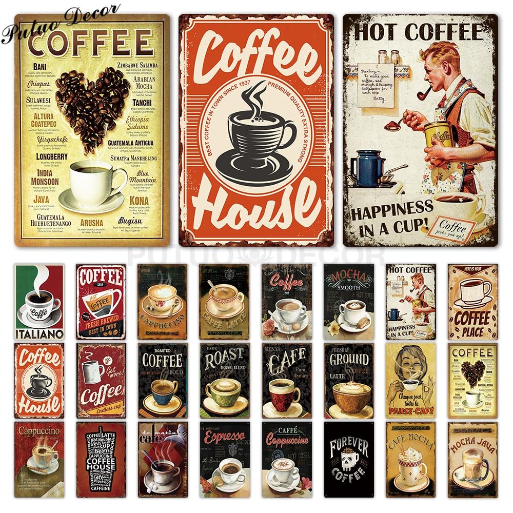Cartel de lata de café Vintage signo de Metal placa Metal Vintage decoración de pared para la cocina Café Bar Café Retro carteles de Metal pintura de hierro RGB luz de neón cinta Flexible LED señal de neón lámpara de luz nocturna 2835 5050 120 LEDs/m LED tira remota 24Key 110V 220V