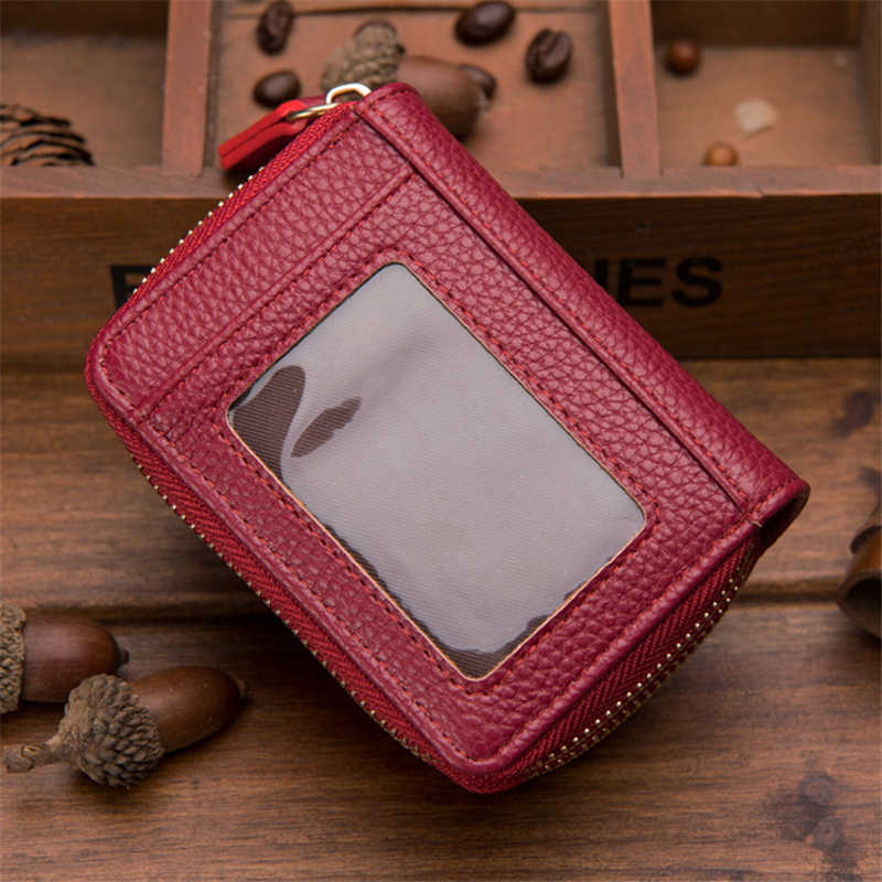 Bank/ID/Credit Card Holder Wallet Women/men Red/coffee/blue/black/orange Double Zipper PU Leather Unisex Business Card Holder