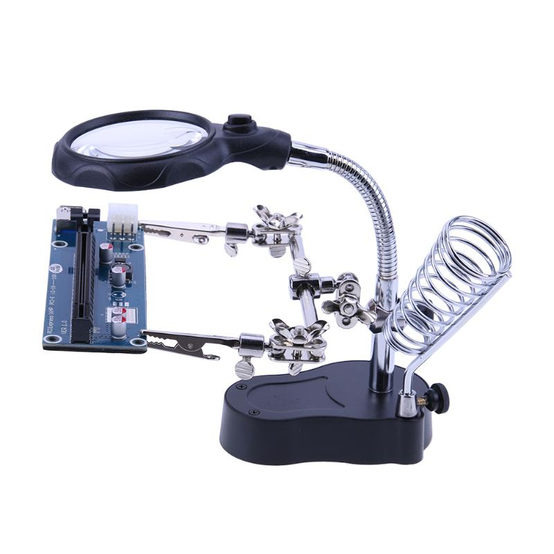 3.5X 12X Desktop Magnifier Welding Magnifying Glass Lens Auxiliary Clip Loupe with LED Light Holder Soldering Repair Tool