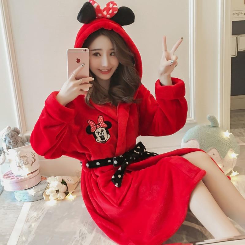 Autumn & Winter Long Sleeve Nightgown Women's Winter Coral Velvet Korean-style Cartoon Flannel Homewear Set 300g One Size