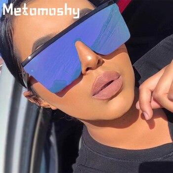 2020 Oversized Sunglasses Women Big Frame Square Flat Top Rivet Gradient Lens Sun Glasses Female Men Vintage Mirror Shades UV400