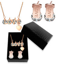 Love Confession Necklace Female Zircon Fashion Rose Gold 316L Stainless Steel Necklace Earrings Jewelry Set Gift Box(China)
