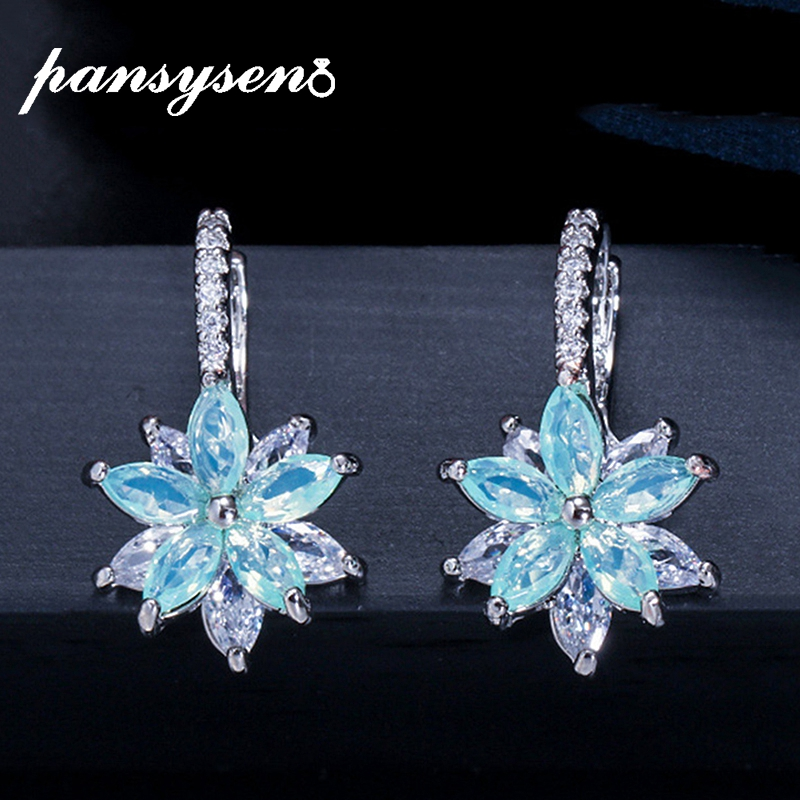 PANSYSEN High Quality Bohemia Topaz Gemstone Clip Earrings for Women Luxury Cocktail Party 925 Silver Fashion Jewelry Earring