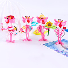 4 Piece Set of Sweet Pink Leopard Key Ring Car Decoration Couple Bag Pendant Cartoon Jewelry Gift