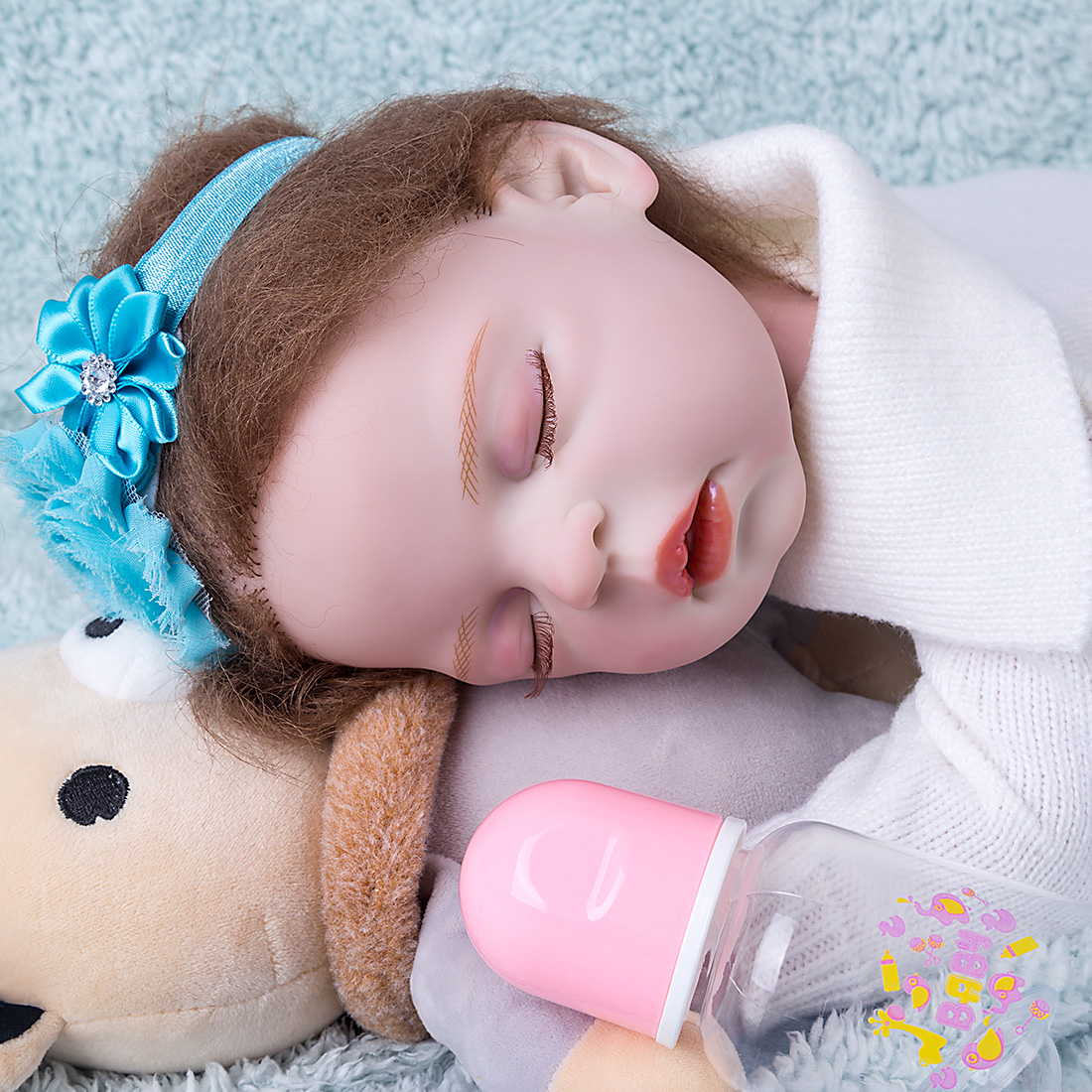 17 Inches Twin A Series Realistic Cute Karina Silicone Reborn Baby Doll Girl Costume Set - Silicone Vinyl Body (Cloth Is Random)