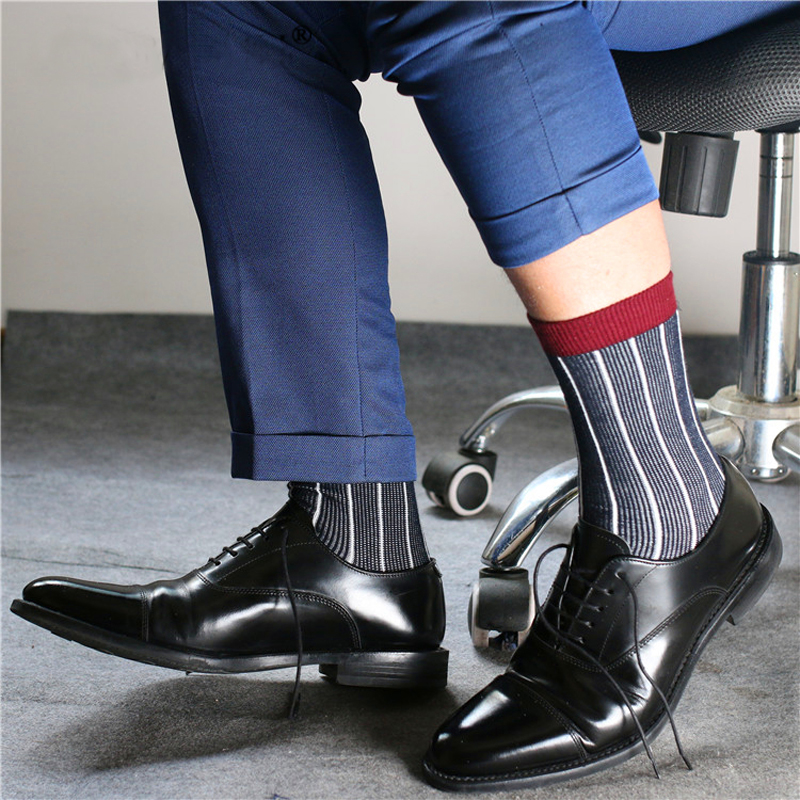 Super Quality TNT Mens Fashion Breathable Cotton Socks Formal  Socks Sexy Gay Leisure Business Stripe Men Socks