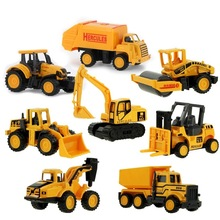 8 Styles Mini Engineering Car Tractor Toy Dump Truck Model Classic Toy Alloy Car Children Toys Engineering Vehicle alloy engineering caterpillar tractor with compartment vehicle simulation model of agricultural toys children s birthday gift