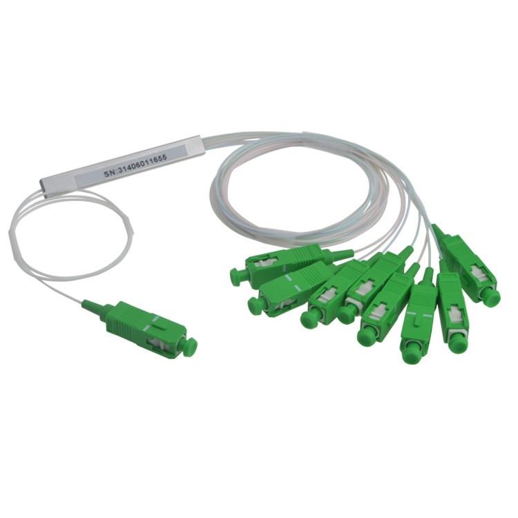 Free Shipping 10pcs lot 0 9mm Steel Tube Fiber Optic PLC Splitter 1x8 SC APC Mini