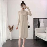 Autumn 2019 new large size button knitted vest skirt sleeveless medium length sweater vest back skirt
