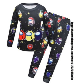 Game Among US Boy's Home Service Suit Underwear Cartoon Clothes Long-Sleeved Trousers Child Nightclothes Indoor Cotton Sleepwear 13