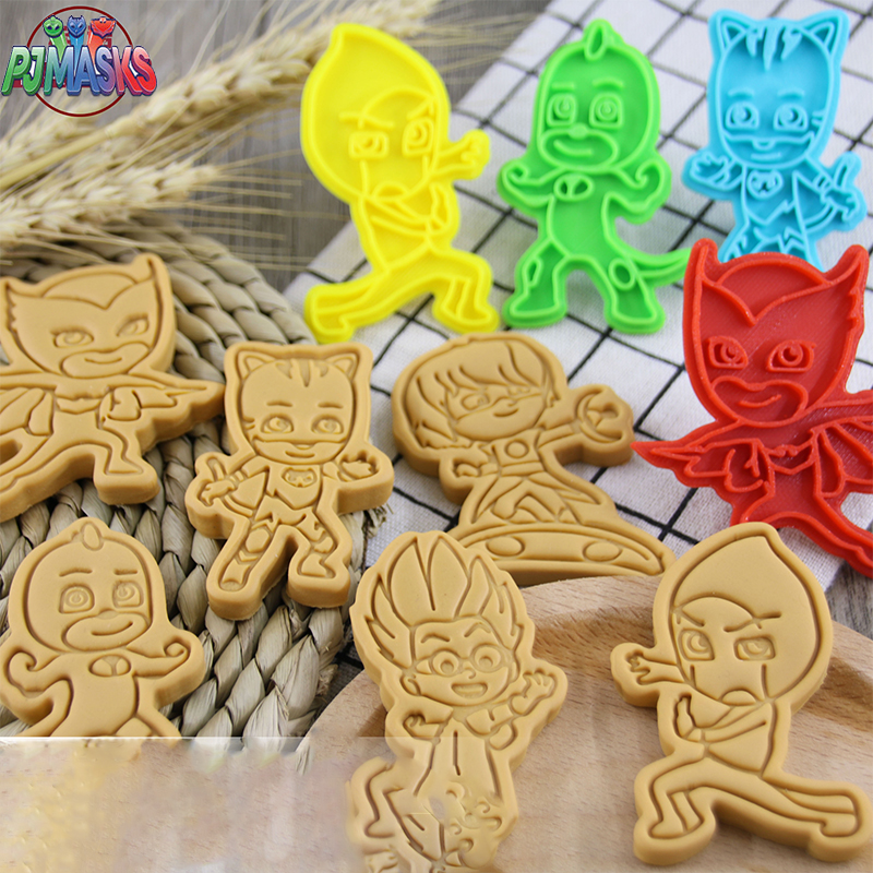 PJ Masks Cake Cookie Cutter Plastic 3D Baking Mould Cartoon Biscuit Baking Tools Decoration Tool Kid Handmade Plastic Mold Gifts