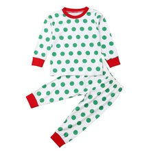 Autumn Baby Clothes for Kids Girls Boys Polka Dot Print Sleepwear Set Long Sleeve Blouse Tops+Pants Pajamas Sets #p цена 2017