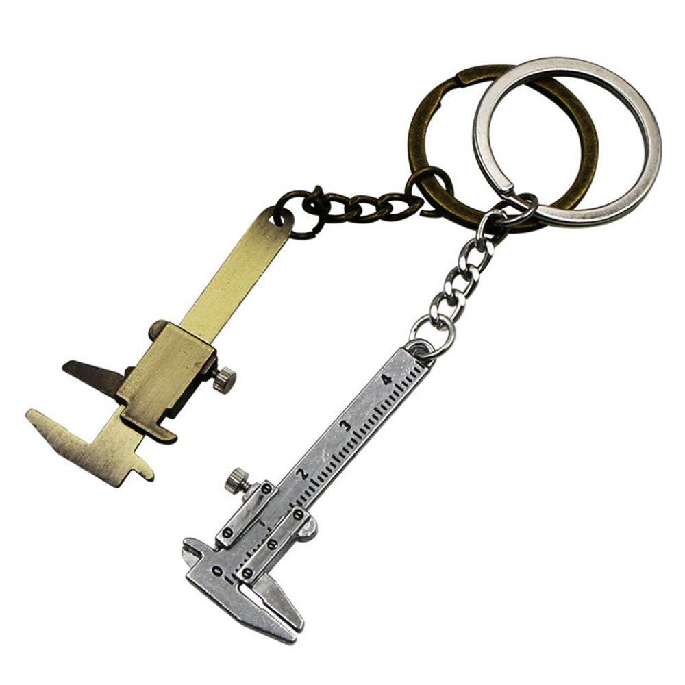Mini Portable Zinc Alloy Metal Simulation Model Slide Ruler Vernier Caliper Key Chain Universal Car Key Ring