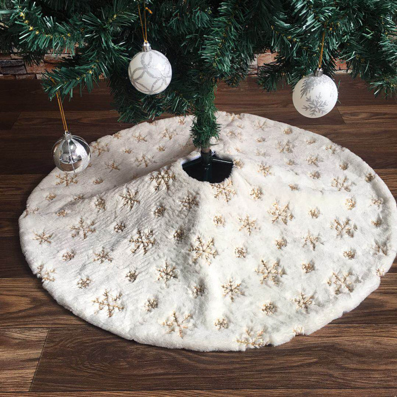 78/90/122cm White Flannel Embroidered Snowflake Christmas Tree Skirt Christmas New Year Home Decoration Tool Super Soft Cover-2