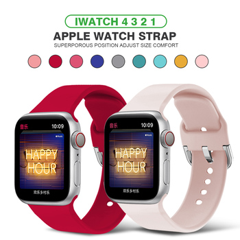 Sport Bands Compatible with Apple Watch Band Soft Silicone Band Metal Sport Strap Compatible for iWatch Series 6 5 4 3 2 1 soft silicone sport band for apple watch series 2 replacement strap for apple iwatch two colors sport band joyozyluxury bands