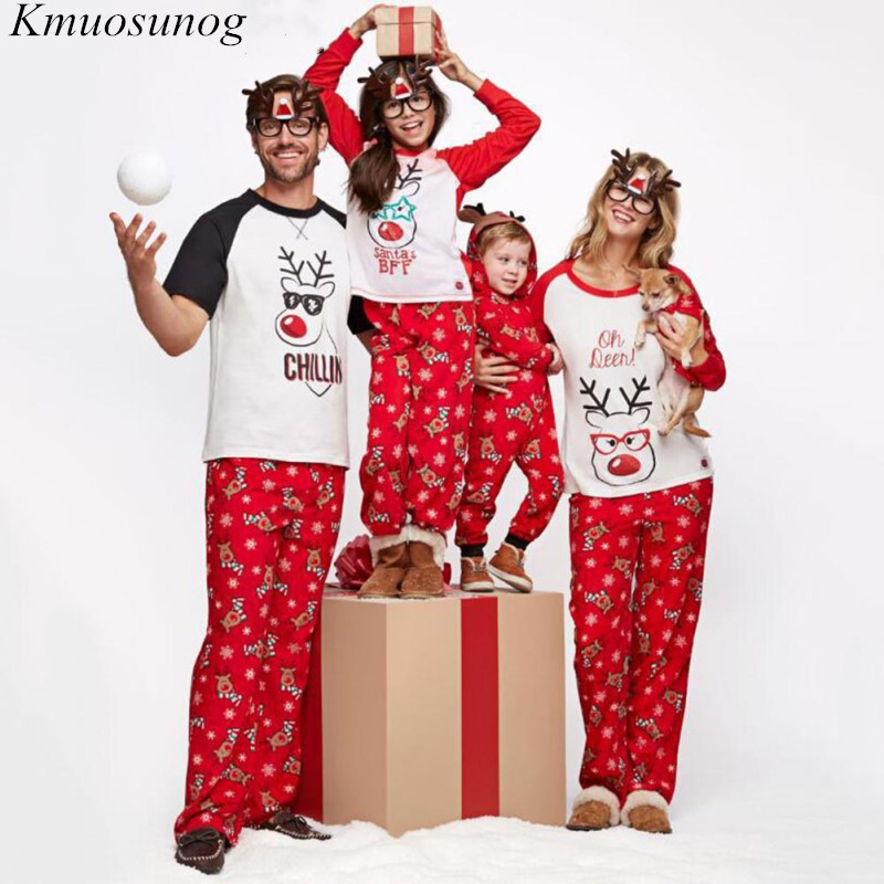 christmas pajamas family 2019 Autumn Winter Adult Kids Sleepwear Nightwear Family Look Mother Father Daughter Son C0576